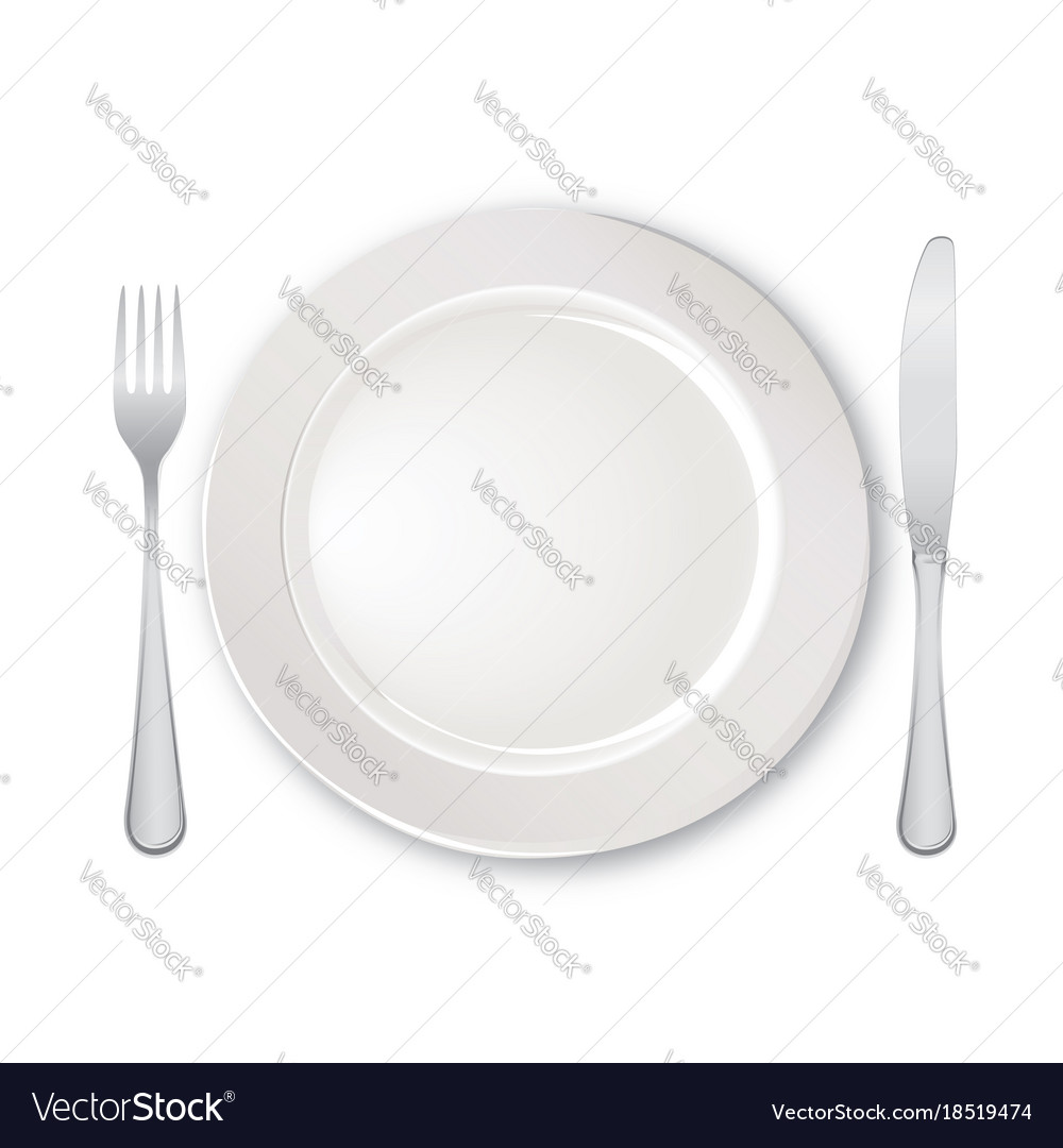 Table setting set fork knife spoon plate cutlery Vector Image