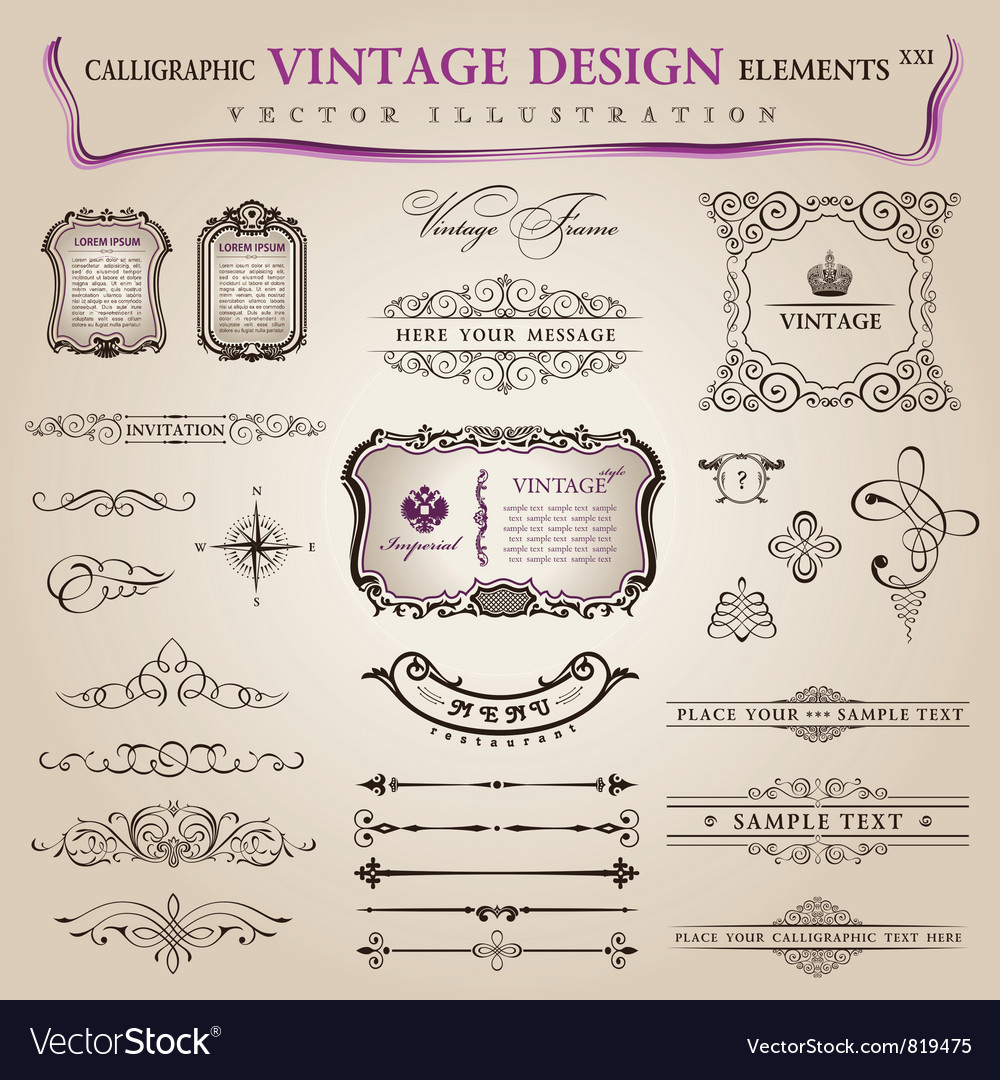 Classic calligraphic design vector image