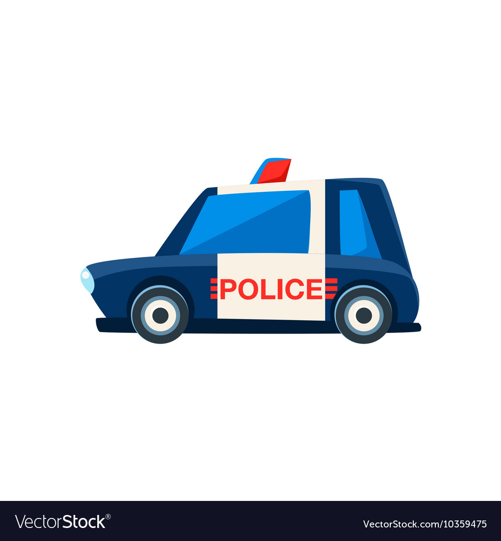 Black And White Police Toy Cute Car Icon vector image