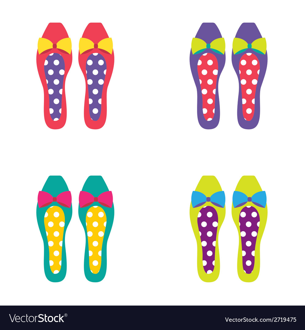Set of Colorful Women Shoes vector image