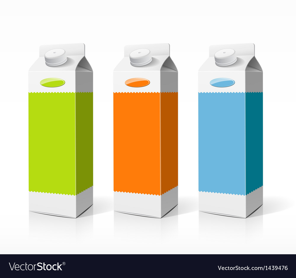 Colorful box fruit juice package vector image