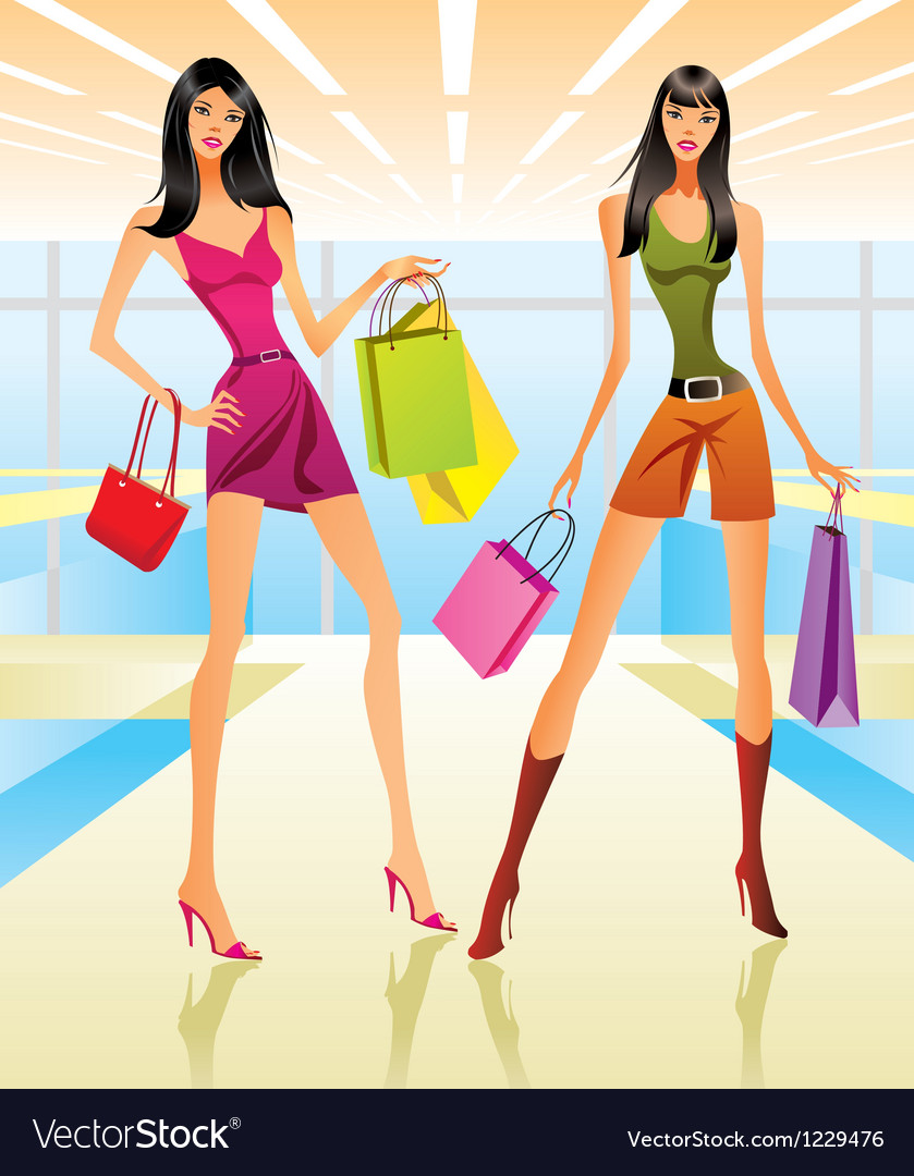 Shopping girls in the mall vector image