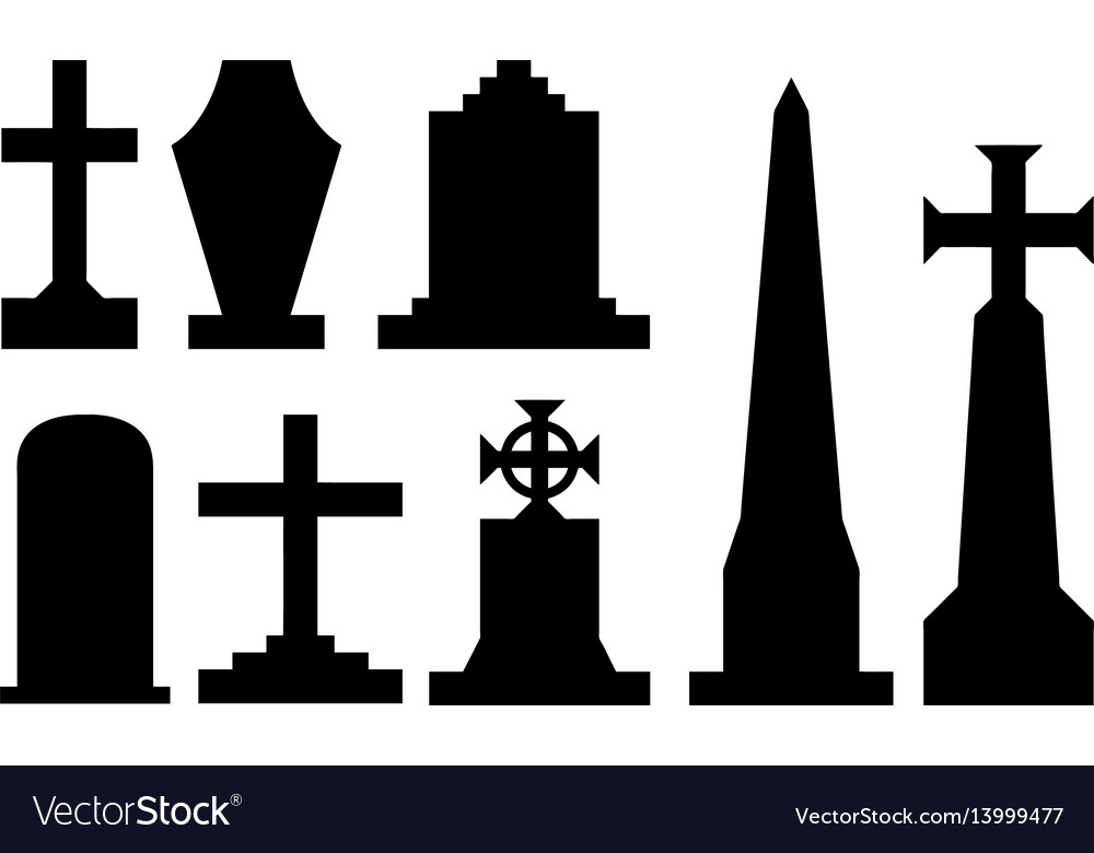 Set of different tombstones vector image