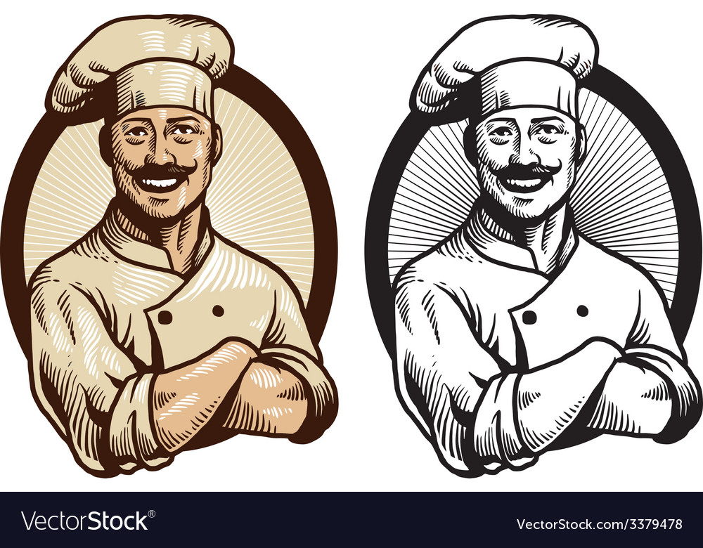 Hand drawing chef with crossed arm pose vector image