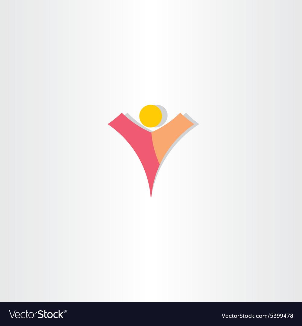 Letter v man logo design vector image