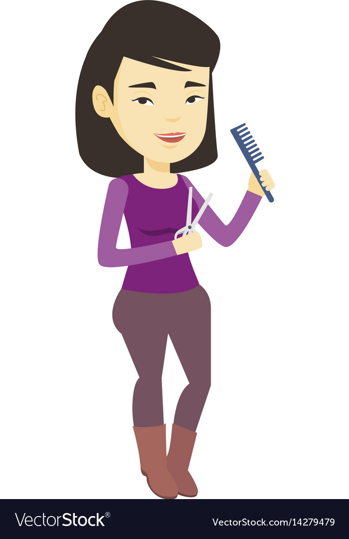 Hairstylist holding comb and scissors in hands vector image