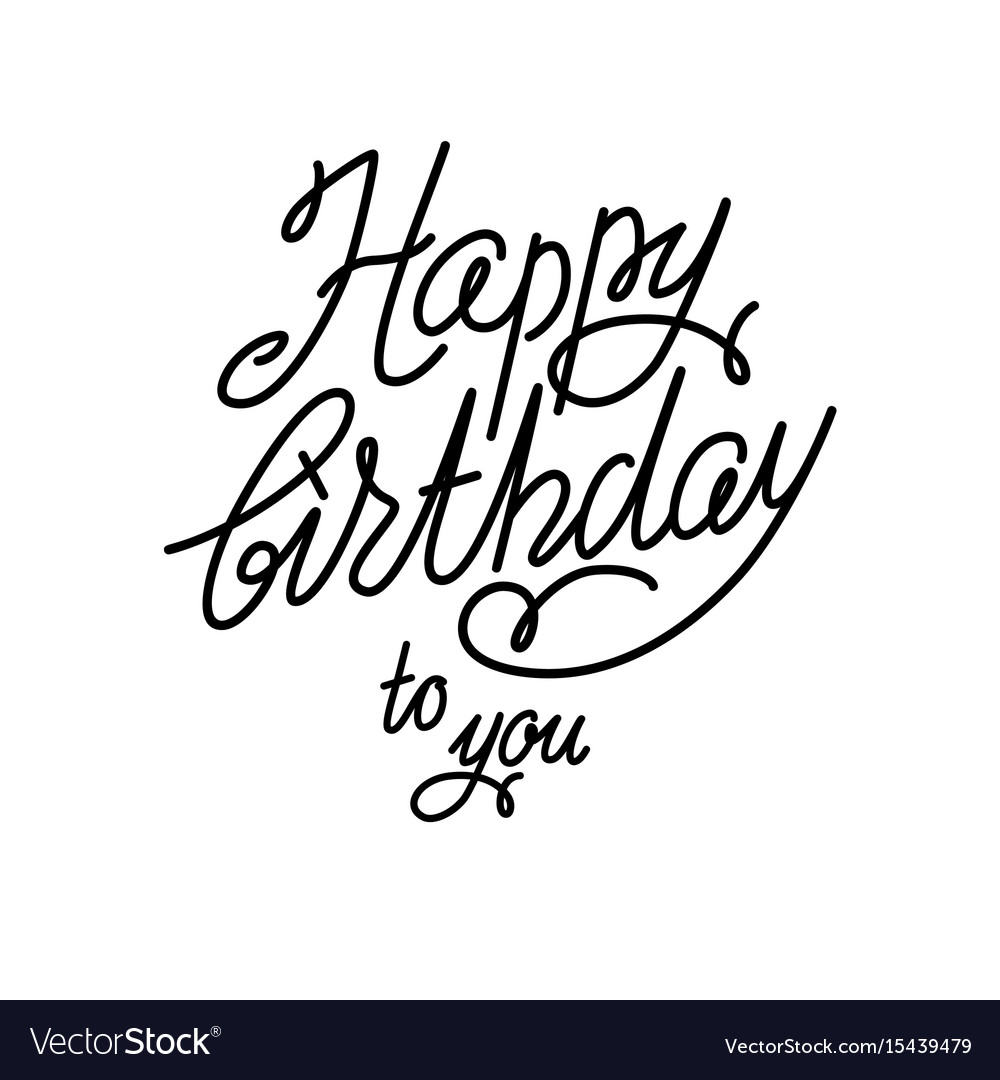 Handwriting Happy Birthday Card Royalty Free Vector Image