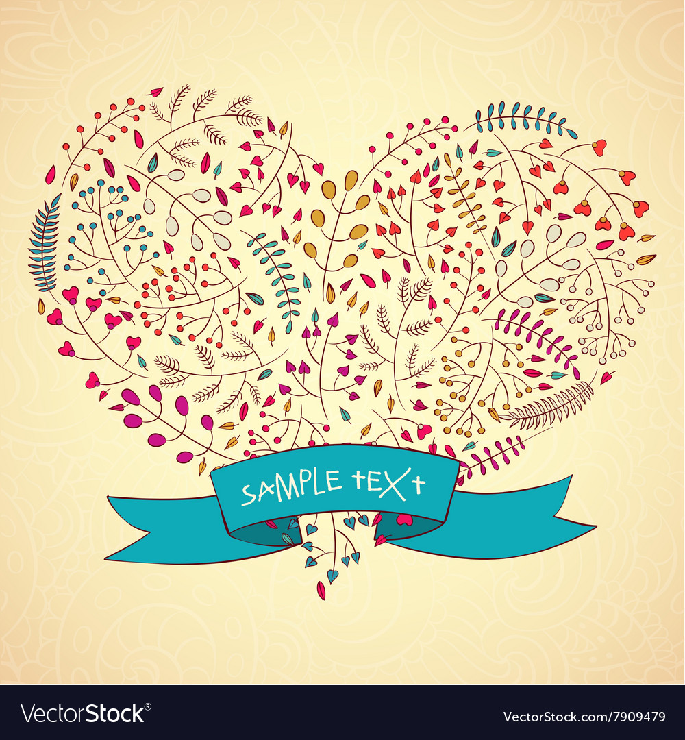 Heart floral design Hand-Drawn vector image
