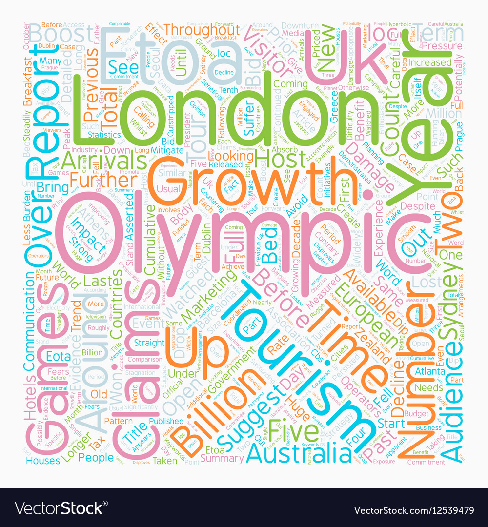Olympics to Damage UK Tourism text background vector image