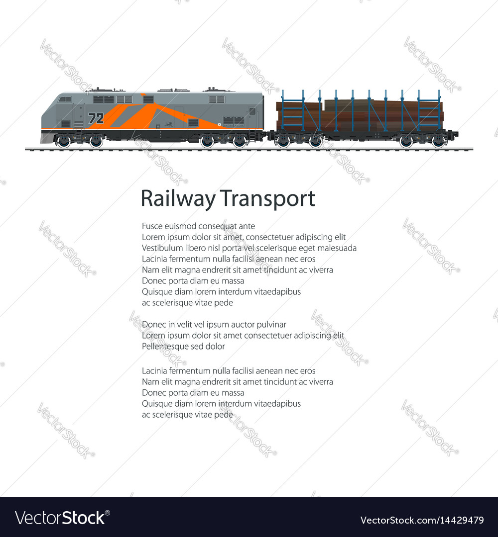 Poster locomotive with railway platform vector image