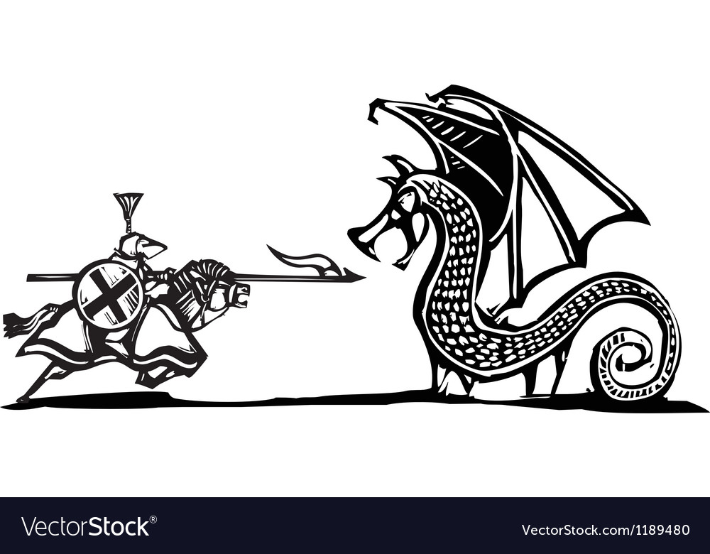 Mounted Knight and Dragon vector image