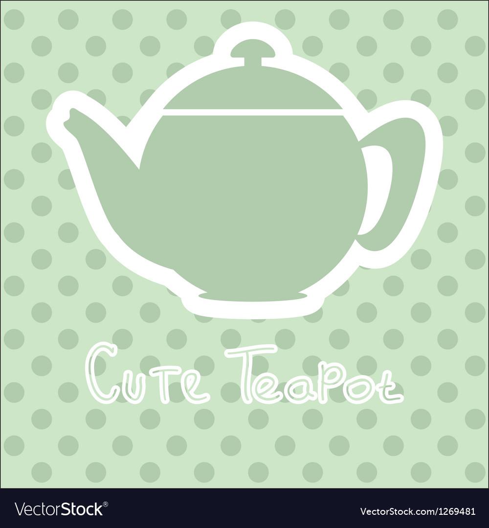 Cute tea time card vector image