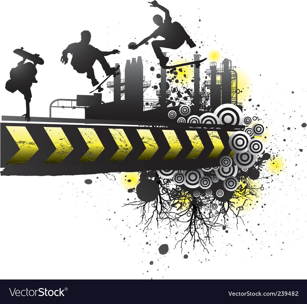 Grunge skateboard art vector image