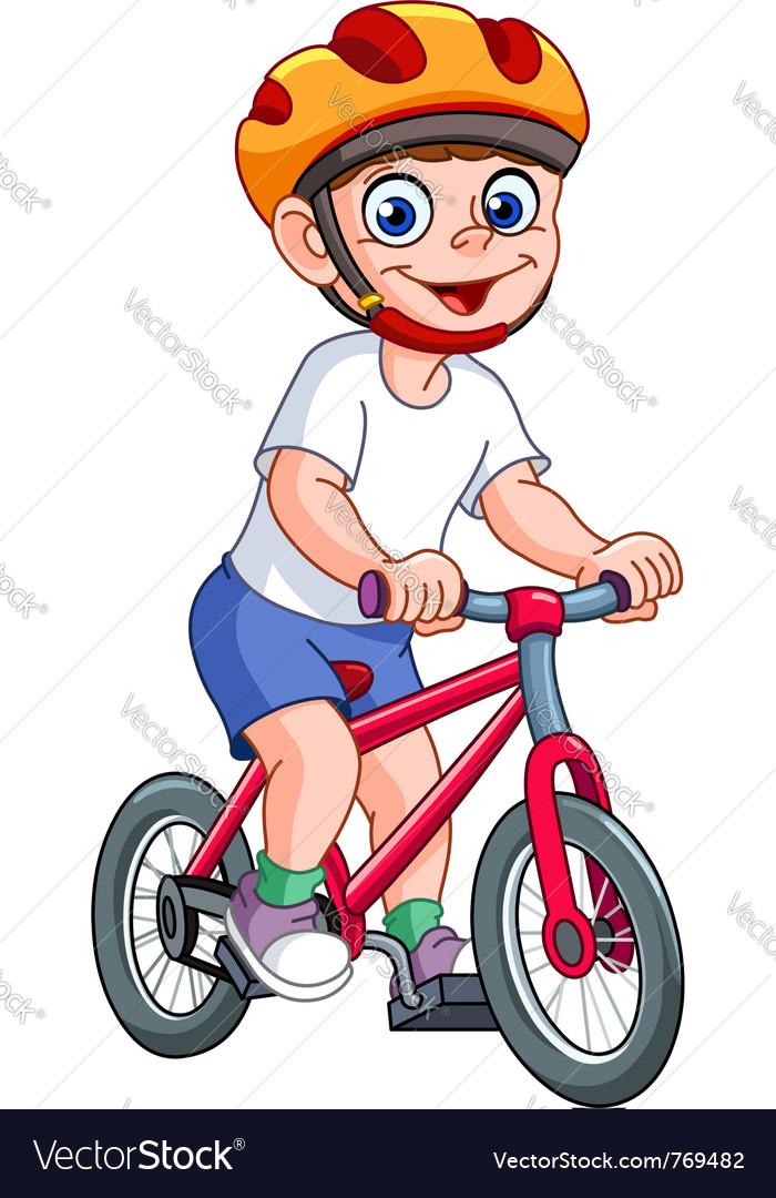 Kid on bicycle vector image