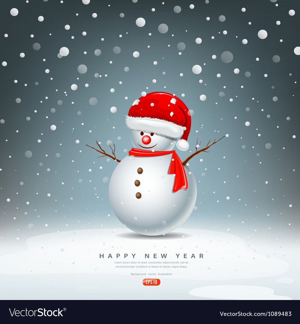 Snowman have Hat red Santa Claus vector image