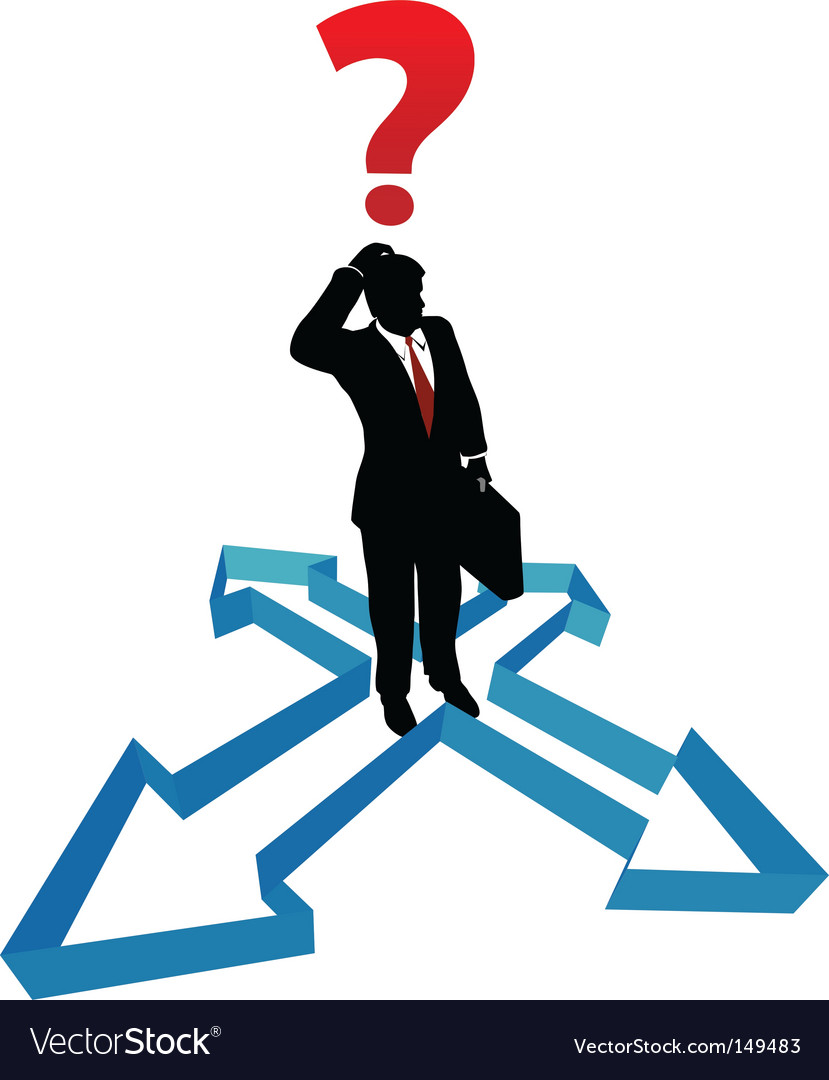 Question businessman indecision direction arrows vector image