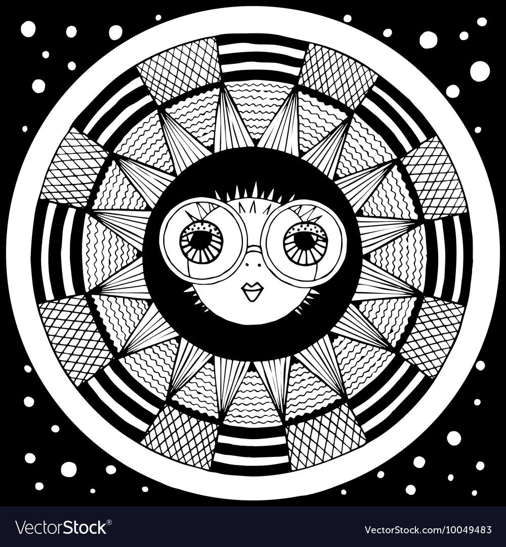Puffer fish zentangl graphic arts vector image