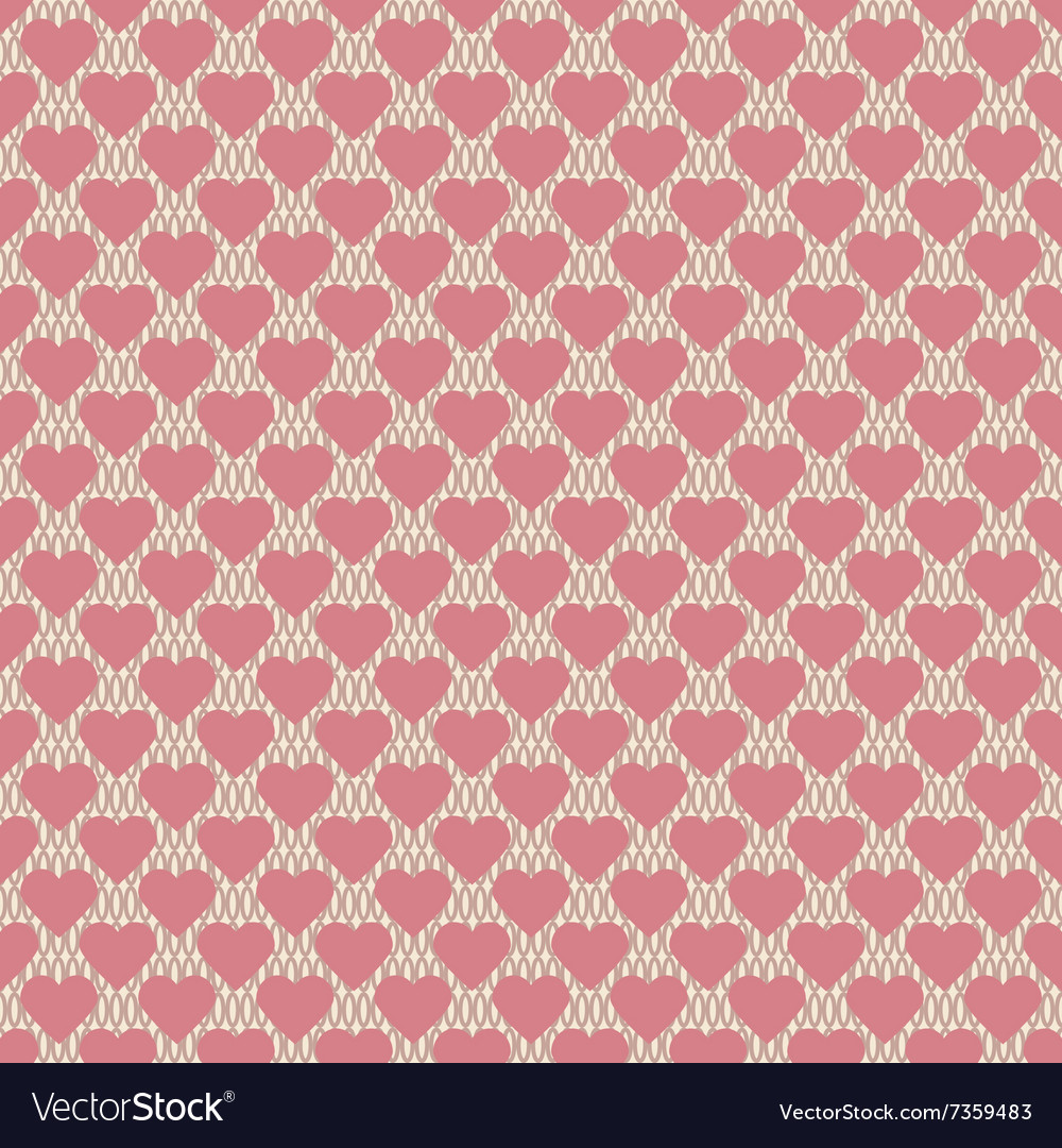 Seamless hearts pattern retro texture pink hearts vector image