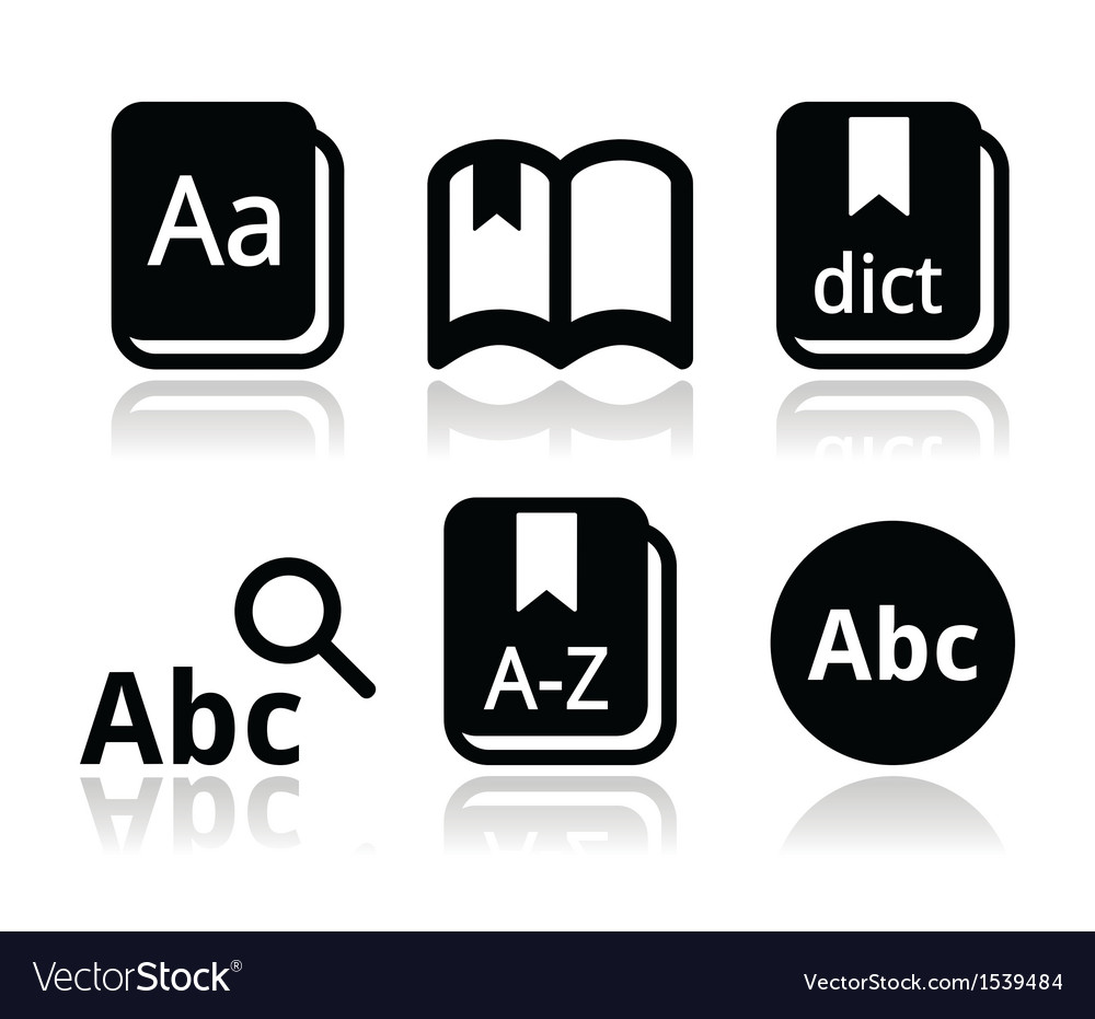 Dictionary book icons set vector image