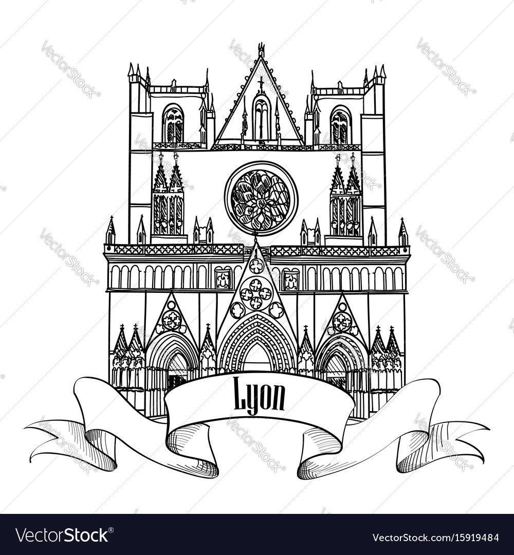Lyon landmark famous city building travel france vector image