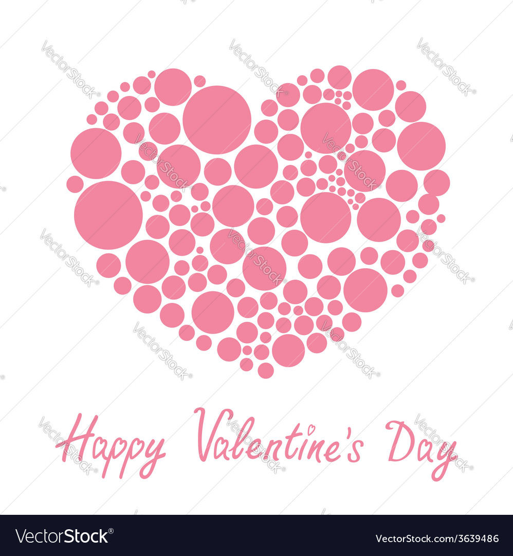 Pink heart made from many round dots Love card vector image