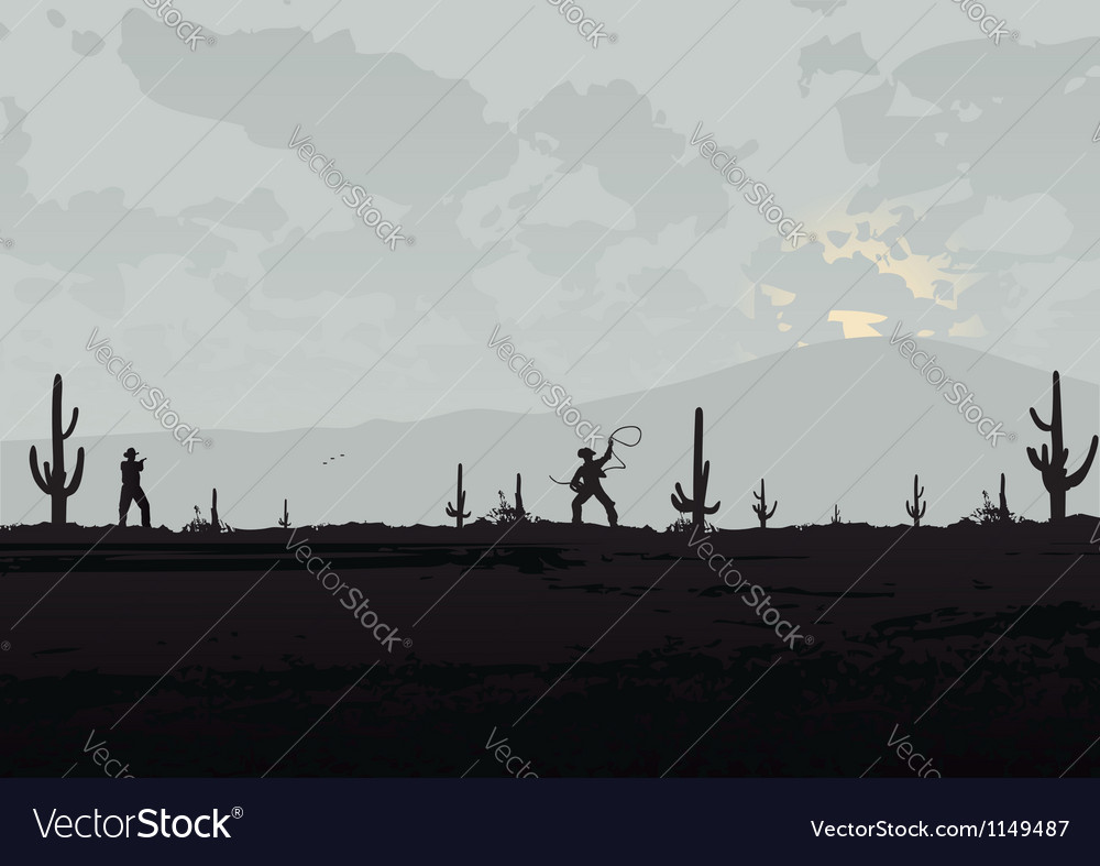 Fight beetween cowboys vector image
