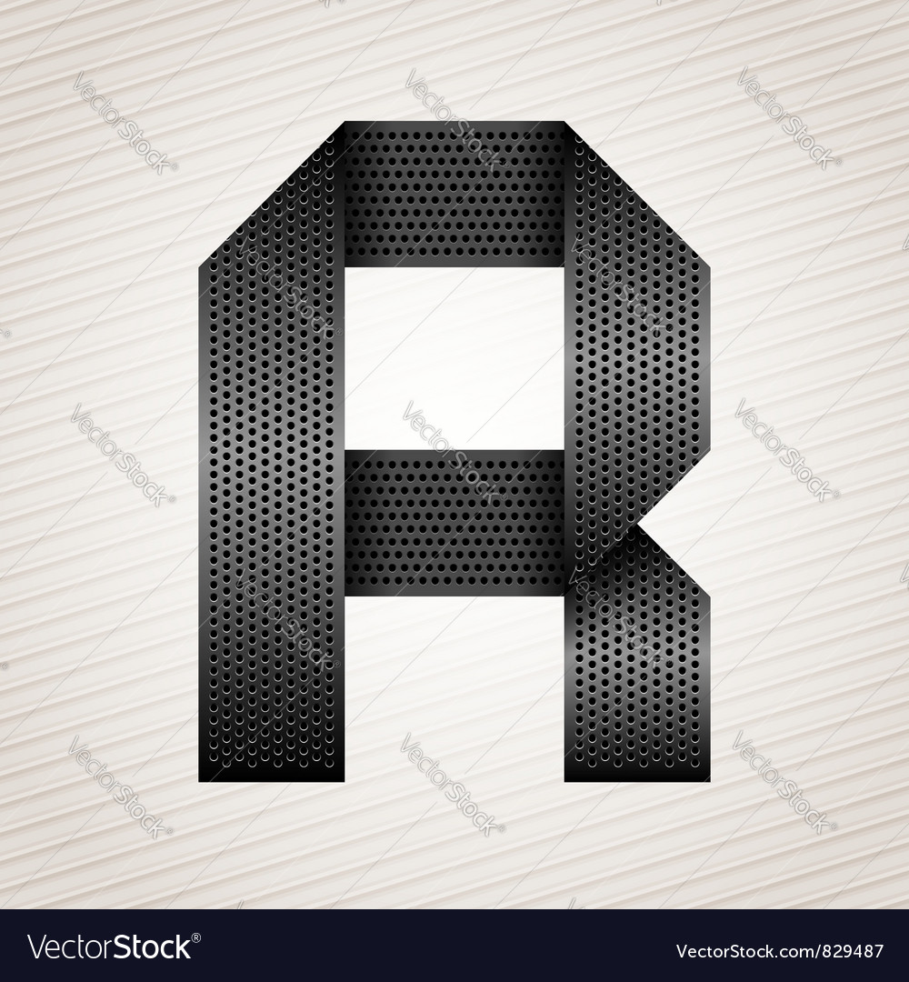 Letter metal ribbon - R vector image