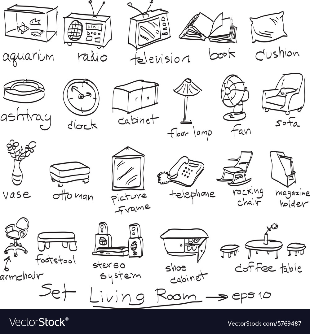Perfect Objects In Living Room Doodles Vector Image Part 11