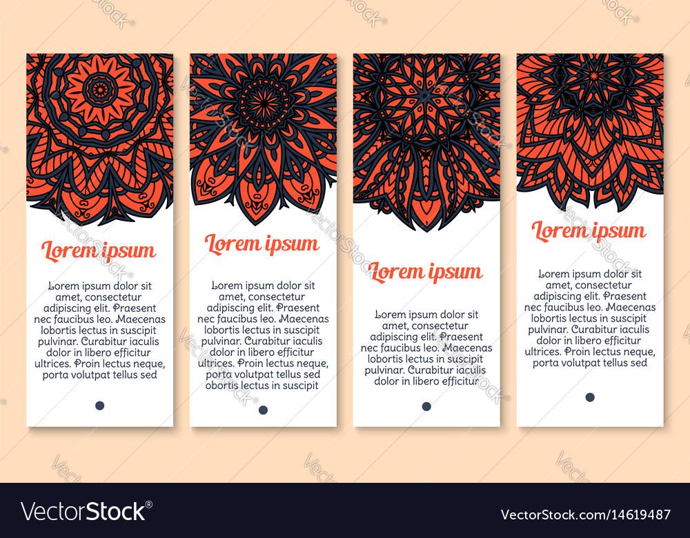 Paisley floral ornament banner set for card design vector image