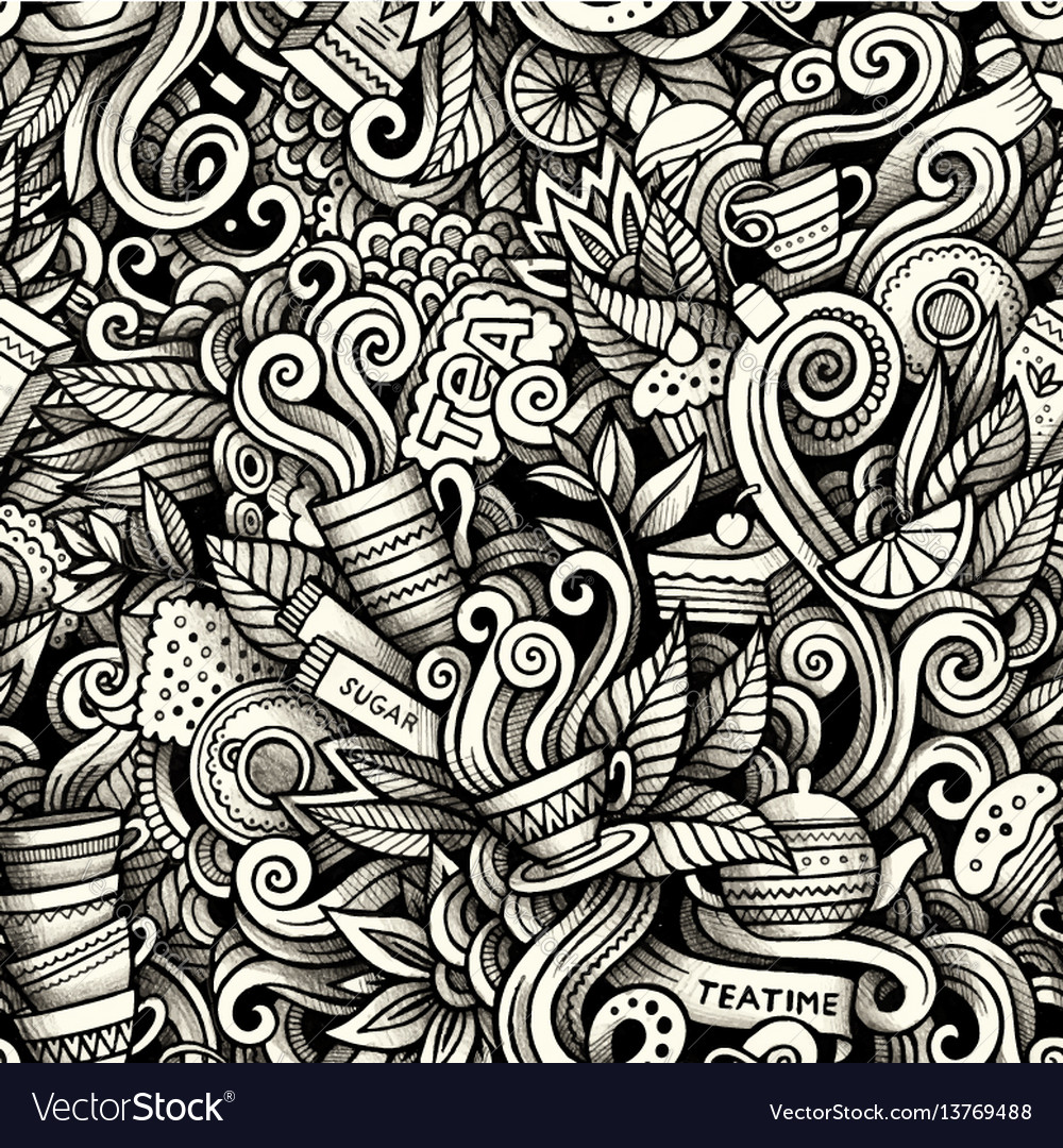 Graphic tea time hand drawn artistic doodles vector image