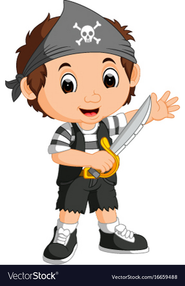 kid boy pirate cartoon royalty free vector image