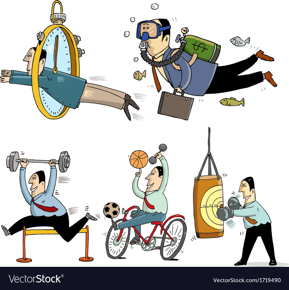 Businessmen making sport vector image