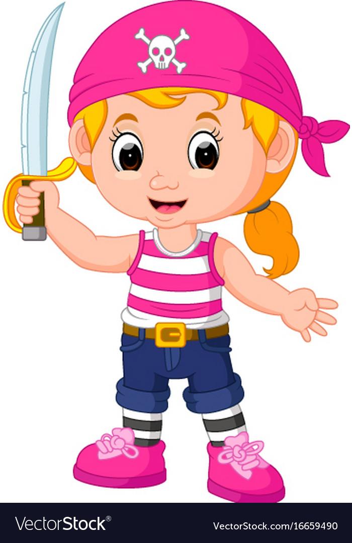 Kids girl pirate cartoon Royalty Free Vector Image - photo#42
