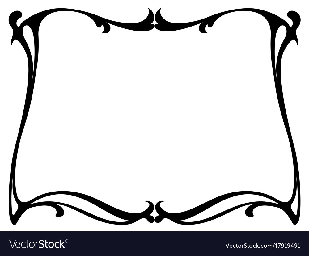 art nouveau black ornamental decorative frame vector image rh vectorstock com art nouveau vector pattern art nouveau vector frame