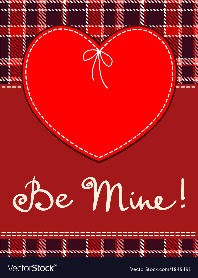 Heart in stitched textile style red heart textile vector image