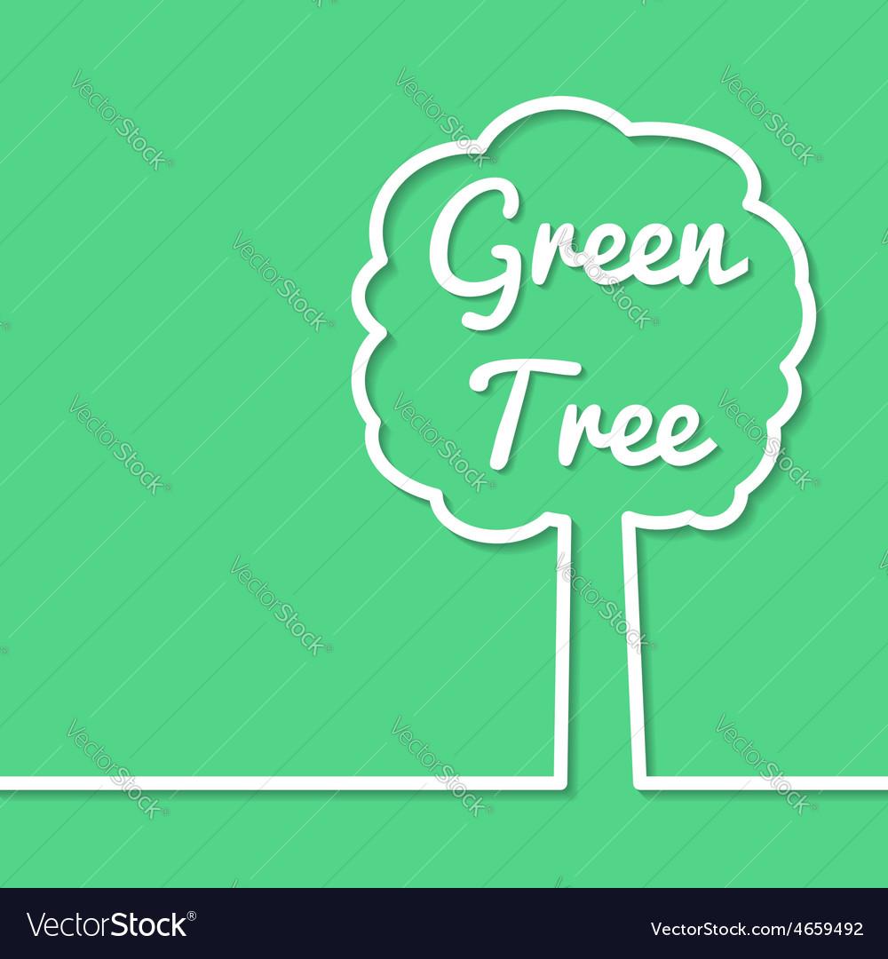 Poster design vector - Green Tree Abstract Line Art Simple Poster Design Vector Image