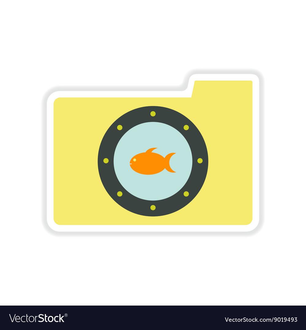 Paper sticker on white background fish folder