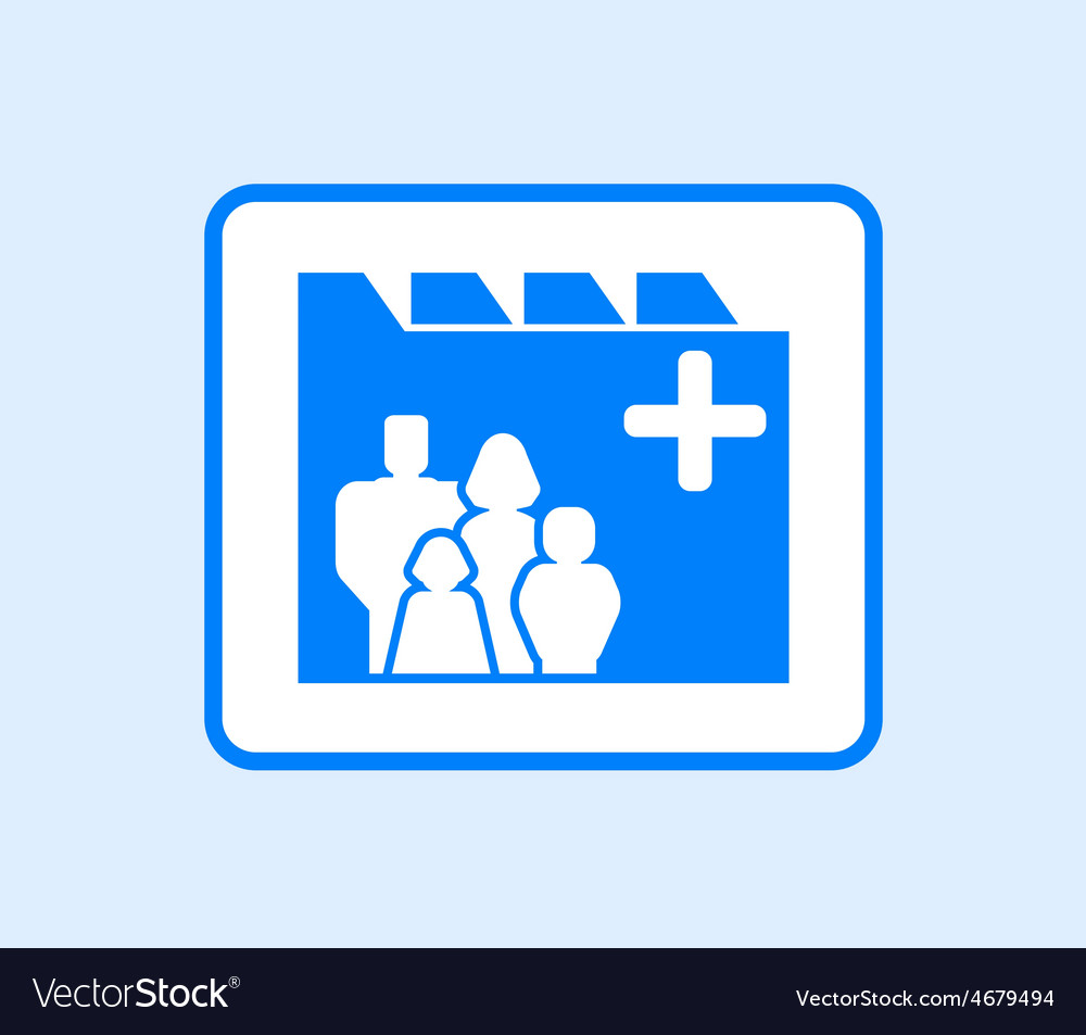 Medical record icon with family vector image