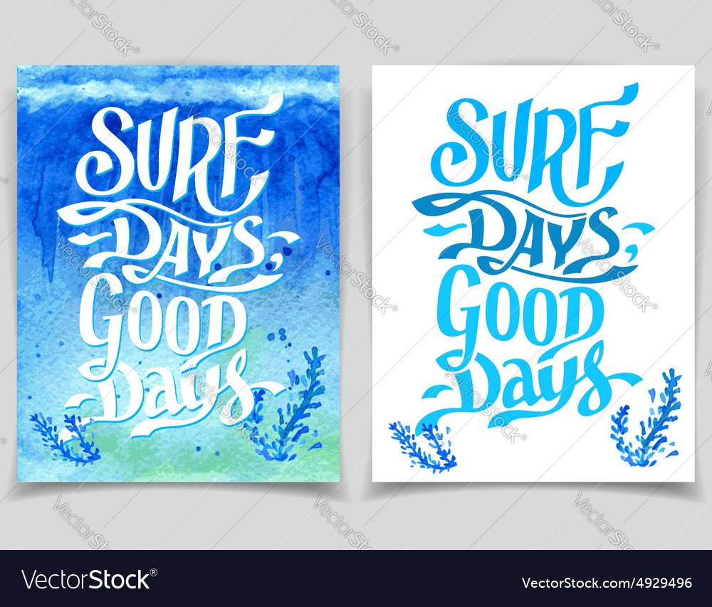 Surf days watercolor greeting cards royalty free vector surf days watercolor greeting cards vector image kristyandbryce Images