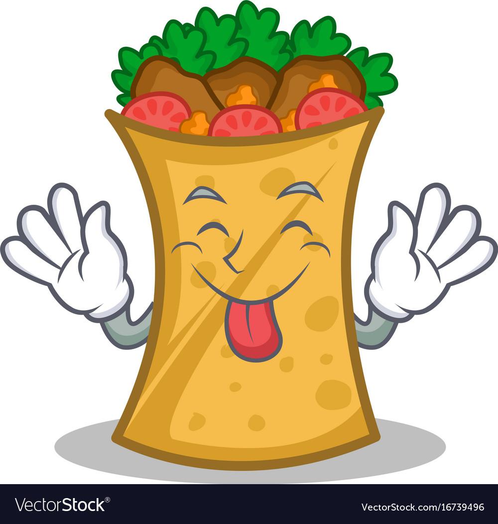 Tongue out kebab wrap character cartoon vector image