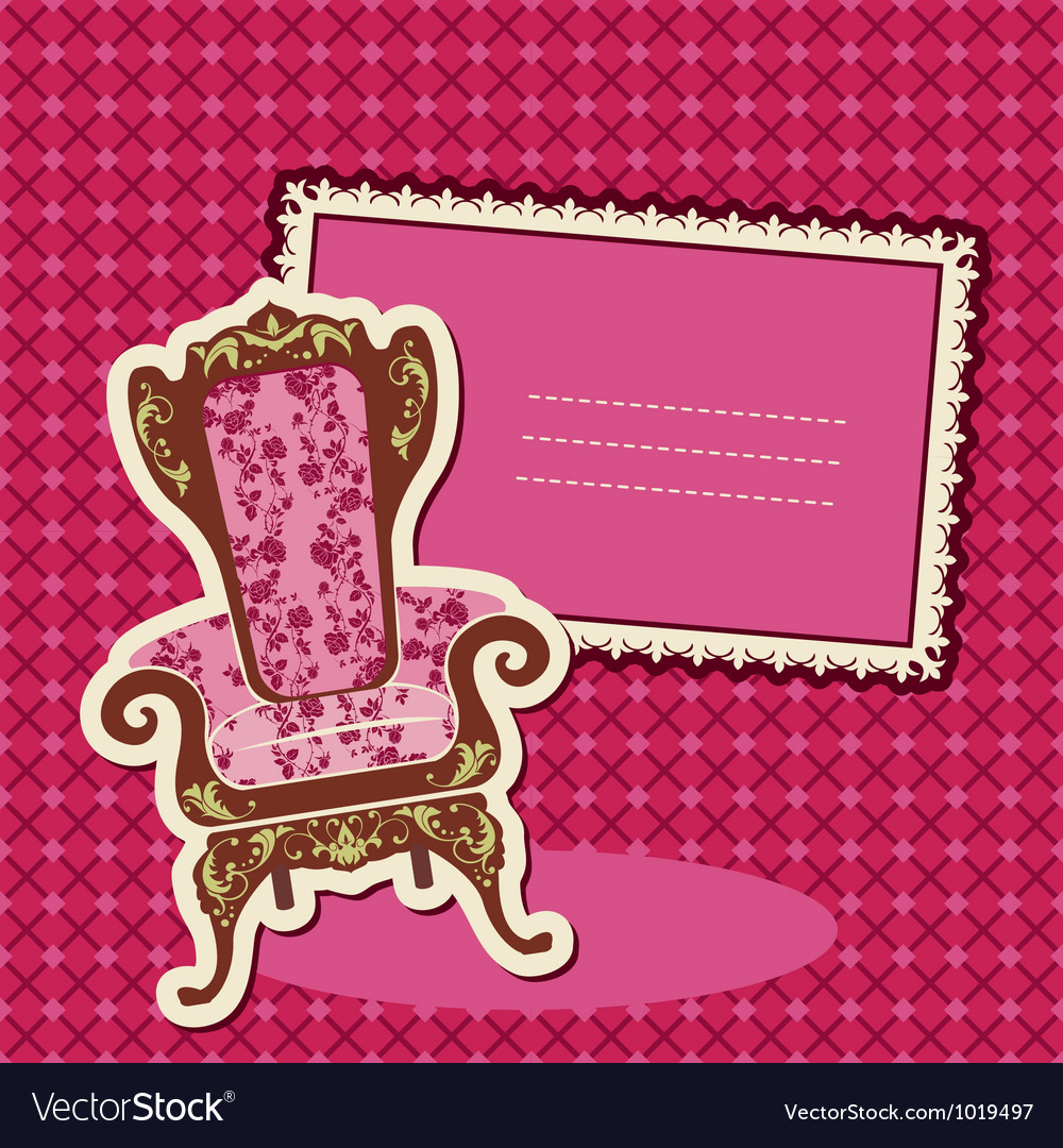 Pink Armchair and picture on checked background vector image