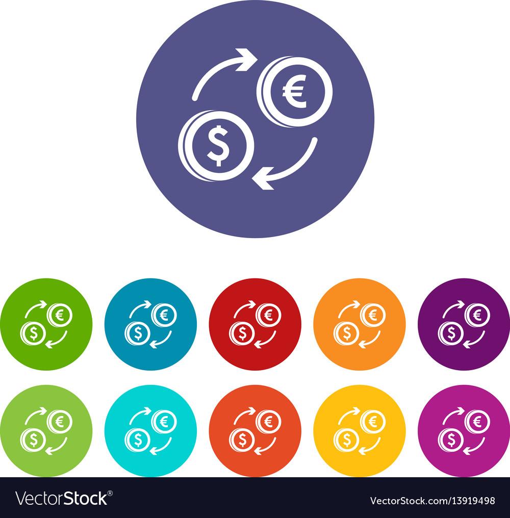 Euro dollar euro exchange set icons vector image