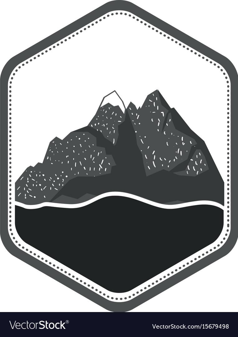 Monochrome silhouette of diamond shape emblem with vector image