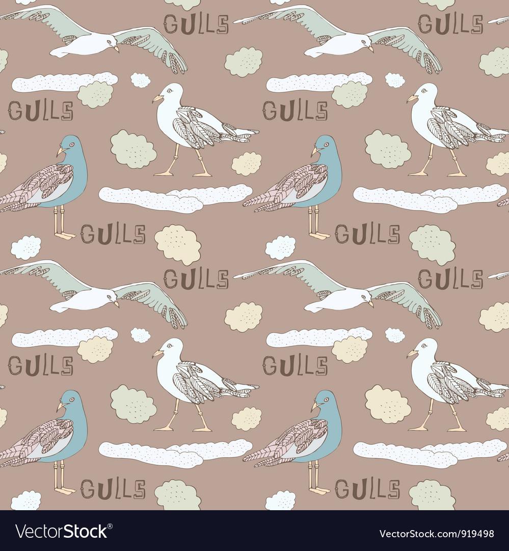 Vintage Seagull Pattern Background vector image