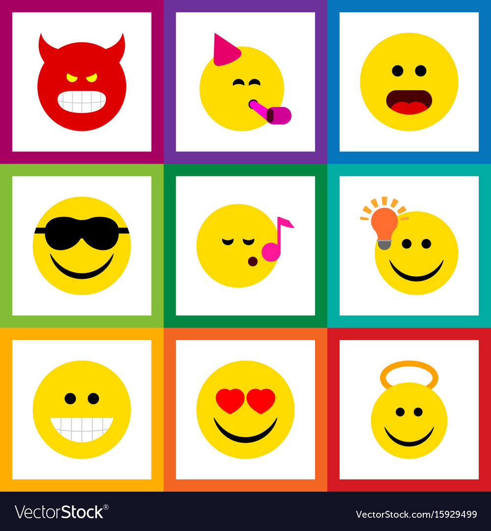 Flat icon face set of angel party time emoticon vector image