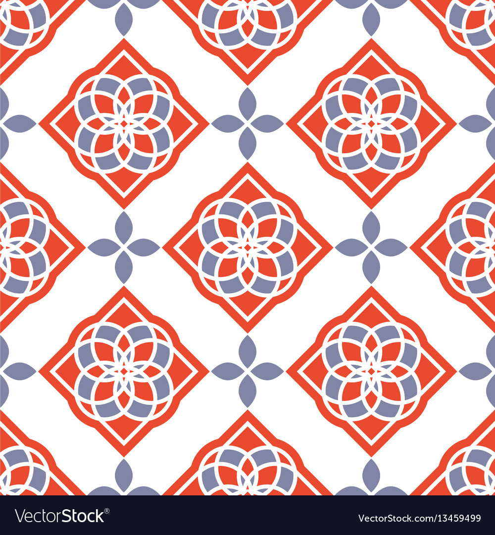 Portuguese azulejo tiles red and white gorgeous vector image