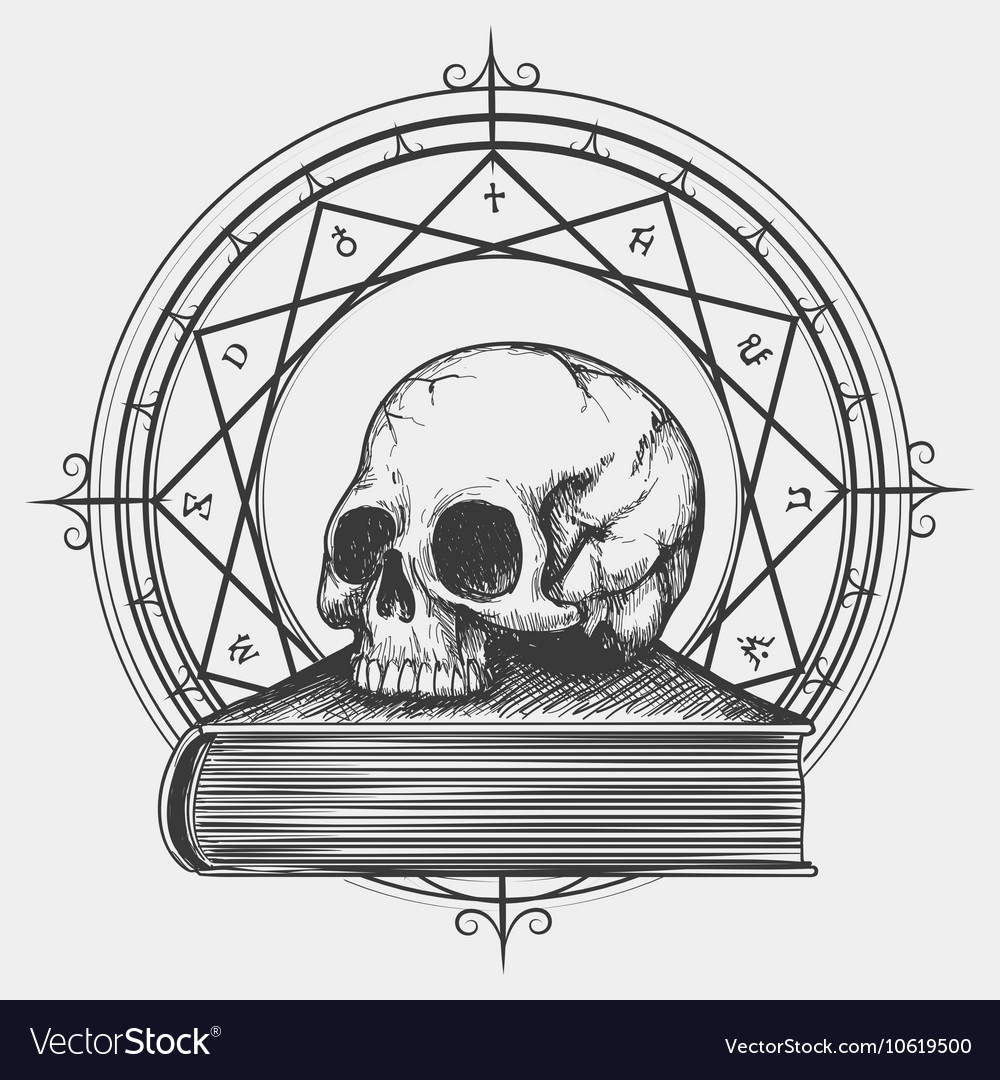 Magic book sketch with skull vector image