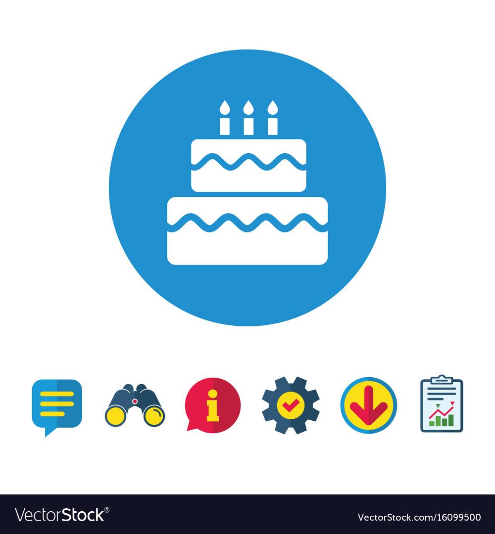 Birthday cake sign icon burning candles symbol vector image birthday cake sign icon burning candles symbol vector image buycottarizona