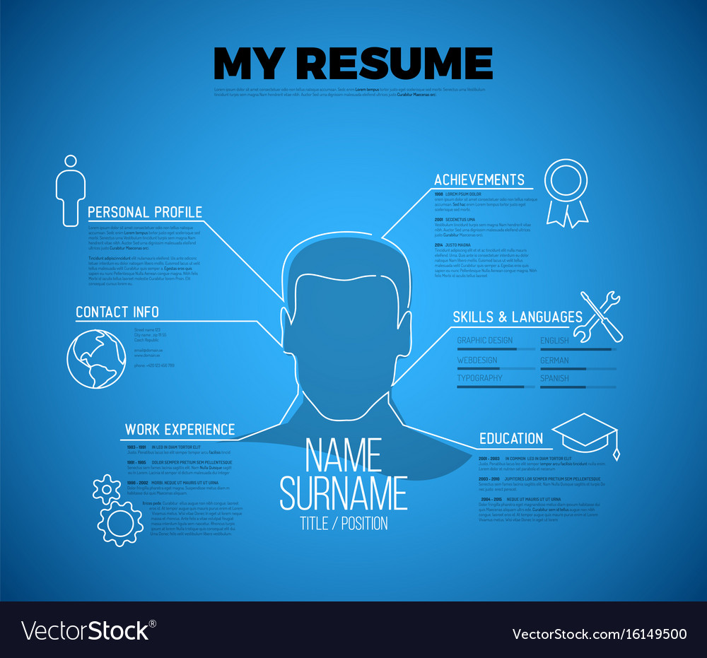 original minimalist blueprint cv resume template vector image