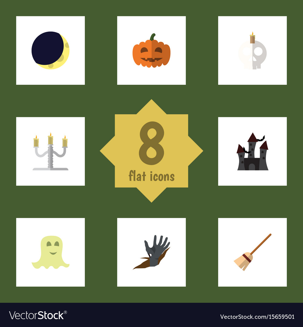 Flat icon celebrate set of broom cranium zombie vector image